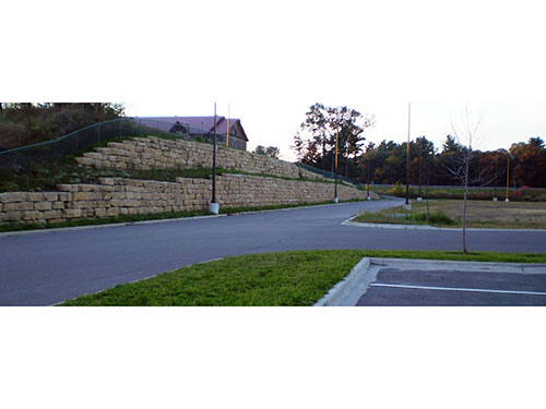 Dells Outlets Bi-Level Retaining Wall Completed