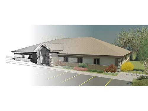 Gerstenkorn Administration Building Auto CAD Morph to 3D Rendering