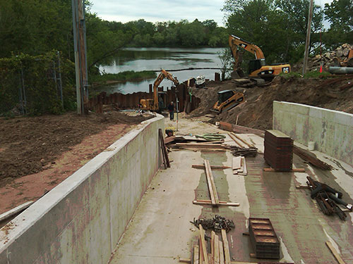 Park Lake Overflow Spillway Construction