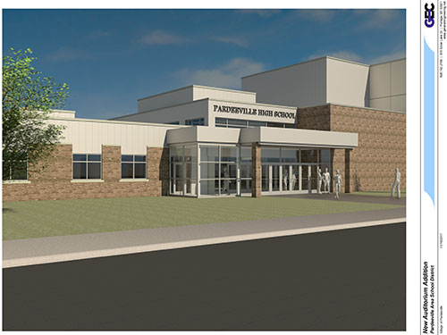 3D Rendering of Pardeeville High School Addition Entrance